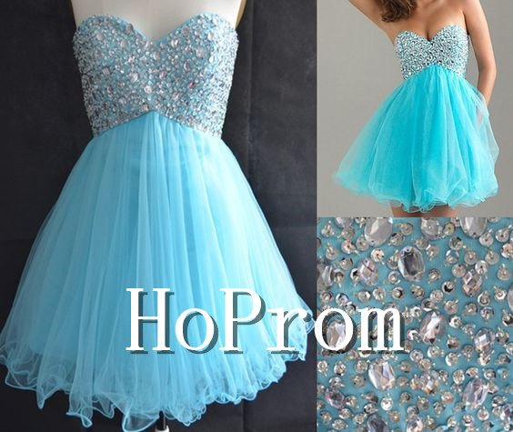 Sweetheart Blue Prom Dress,Short Mini Prom Dresses  2017