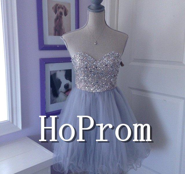 Sweetheart Tulle Prom Dress,Lavender Short Prom Dresses  2017
