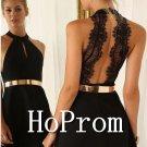 Halter Black Prom Dress,Short Prom Dresses  2017