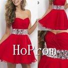 Red Chiffon Prom Dress,Short Mini Prom Dresses  2017