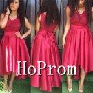 High Low Prom Dress,Lace Satin Prom Dresses  2017