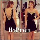 Backless Homecoming Dresses,Sleeveless Prom Dresses