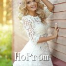 Lovely White Homecoming Dresses,Lace Chiffon Prom Dresses
