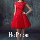 Cap Sleeve Dresses,Red Prom Dresses