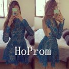 High Neck Homecoming Dresses,Lace Applique Prom Dresses