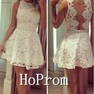 A-Line Homecoming Dresses,White Lace Prom Dresses