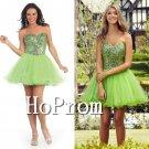 Sweetheart Green Homecoming Dresses,Beaded Short Prom Dresses