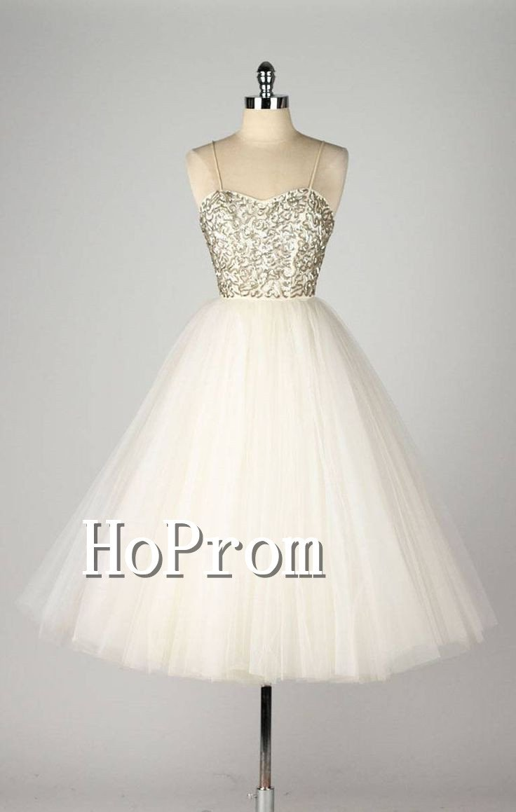 Spaghetti Straps Homecoming Dresses,Tea Length Prom Dresses
