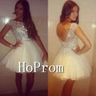 Cap Sleeve Homecoming Dresses,Sparkly Prom Dresses