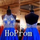 Halter Blue Homecoming Dresses,Backless Prom Dresses