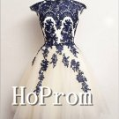 Elegant Applique Homecoming Dresses,Cap Sleeve Prom Dresses