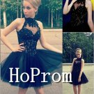 High Neck Homecoming Dresses,Black Tulle Prom Dresses