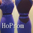 Two Piece Homecoming Dresses,Beaded Tight Prom Dresses