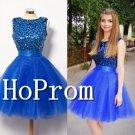 Sleeveless Blue Homecoming Dresses,A-Line Prom Dresses