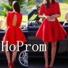 Long Sleeve Homecoming Dresses,Red Lace Prom Dresses