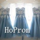 Sleeveless Blue Homecoming Dresses,Lace Prom Dresses