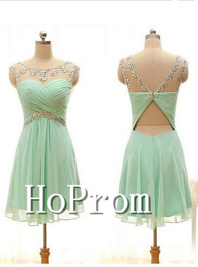 Scoop Chiffon Homecoming Dresses,Beading Prom Dresses