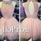 Sleeveless Organza Homecoming Dresses,Pink Prom Dresses