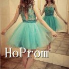 Sleeveless Organza Homecoming Dresses,High Neck Prom Dresses