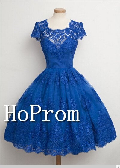 Short Sleeve Homecoming Dresses,Royal Blue Prom Dresses