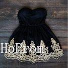Little Black Homecoming Dresses,Applique Prom Dresses