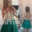 Long Sleeve Homecoming Dresses,Short Lace Prom Dresses