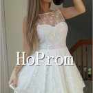 Sleeveless White Homecoming Dresses,Short Lace Prom Dresses