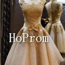 High Neck Homecoming Dresses,Gold Applique Prom Dresses