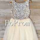 Sleeveless Sequin Homecoming Dresses,A-Line Prom Dresses