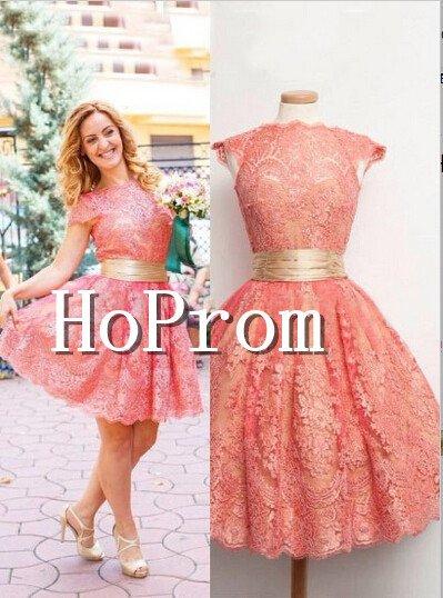Cap Sleeve Homecoming Dresses,Lace Short Prom Dresses