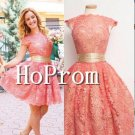 Cap Sleeve Homecoming Dresses,Lace Short Prom Dresses