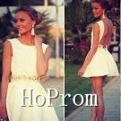 Open Back Homecoming Dresses,White Short Prom Dresses