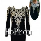 Long Sleeve Homecoming Dresses,Gold Embroidery Prom Dresses