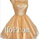 Scoop Sequin Homecoming Dresses,Gold Short Prom Dresses