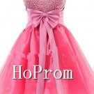 A-Line Beaded Homecoming Dresses,Red Tulle Prom Dresses