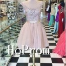 Sleeveless Short Homecoming Dresses,Lace Tulle Prom Dresses
