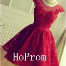 Red Lace Prom Dress,Short Mini Prom Dresses