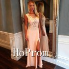 Applique Satin Prom Dress,Side Slit Prom Dresses