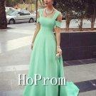 A-Line Green Prom Dress,Long Satin Prom Dresses