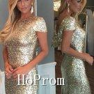 Sequin Beaded Prom Dress,Short Sleeve Prom Dresses