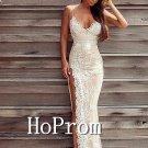 Spaghetti Straps Prom Dress,White Lace Prom Dresses