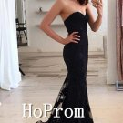Black Lace Prom Dress,Sweetheart Mermaid Prom Dresses