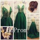 Green Backless Prom Dress,A-Line Prom Dresses