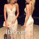 White Lace Prom Dress,Side Slit Prom Dresses