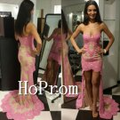 High Low Prom Dress,Pink Applique Prom Dresses