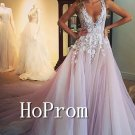 A-Line Pink Prom Dress,White Applique  Prom Dresses