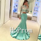 Two Pieces Prom Dress,High Neck Prom Dresses
