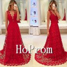 V-Neck Prom Dress,Red Lace Prom Dresses