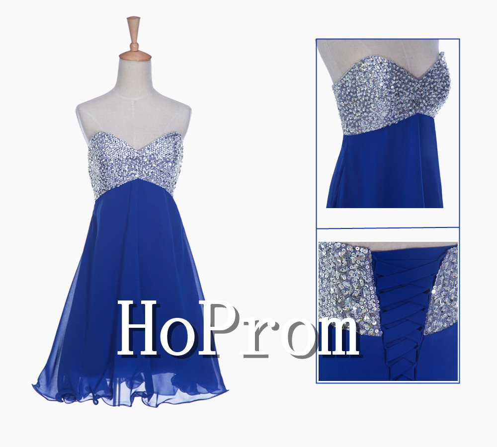 A-Line Beaded Prom Dress,Blue Short Prom Dresses