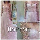Long Sleeve Prom Dress,Pink Chiffon Prom Dresses